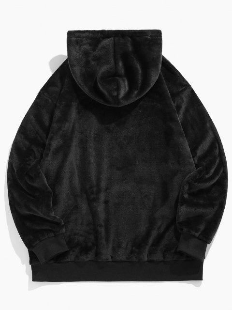 hot ZAFUL Rose Embroidery Fleece Hoodie - BLACK XL Mobile