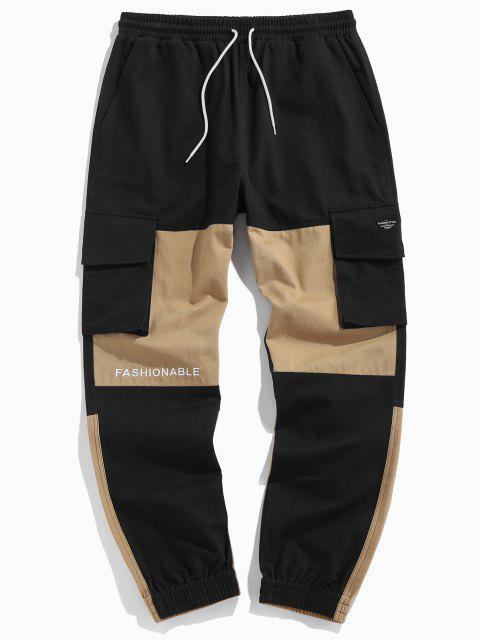 trendy ZAFUL Colorblock Panel Letter Embroidery Cargo Pants - MULTI 2XL Mobile