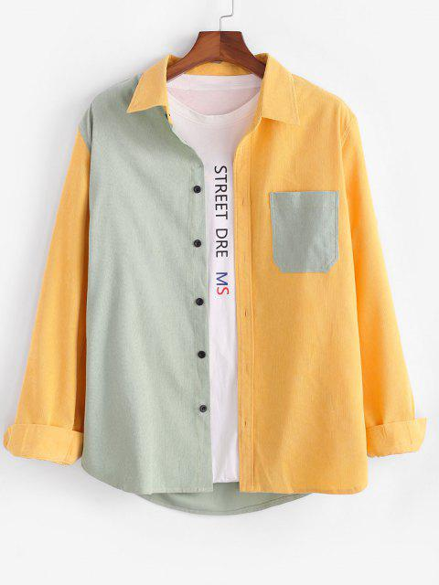 latest Two Tone Pocket Button Up Corduroy Shirt - YELLOW 2XL Mobile