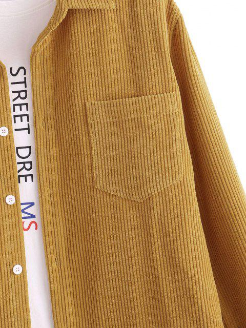 affordable Pure Color Pocket Button Up Corduroy Shirt - DEEP YELLOW L Mobile