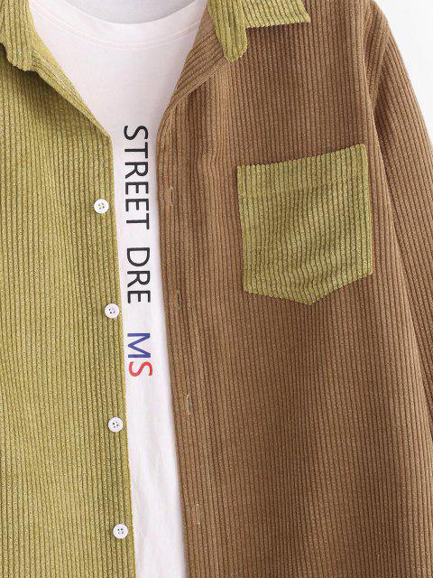 ladies Colorblock Panel Pocket Patch Corduroy Shirt - COFFEE L Mobile
