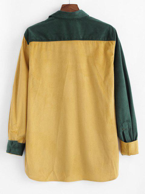 lady Colorblock Panel Pocket Corduroy Long Sleeve Shirt - YELLOW L Mobile
