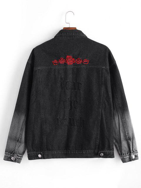 Jeans di ZAFUL con Ricamo di Fiori - Nero M Mobile