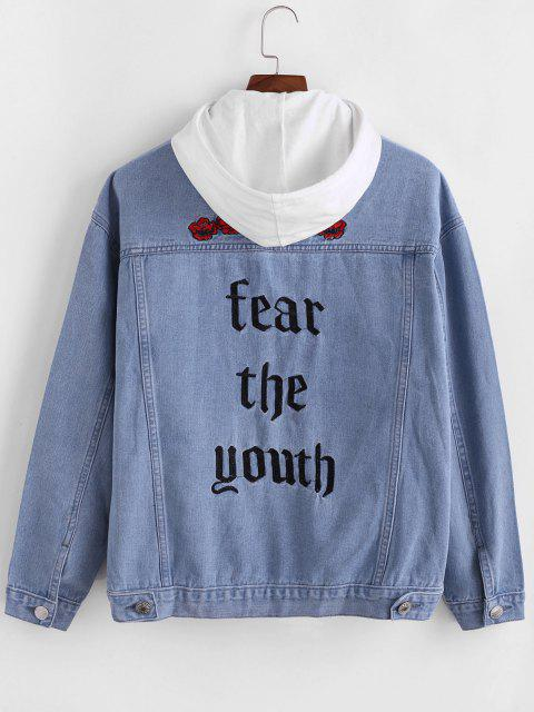 ZAFUL Flower Fear The Youth Embroidery Jeans - أزرق فاتح 2XL Mobile