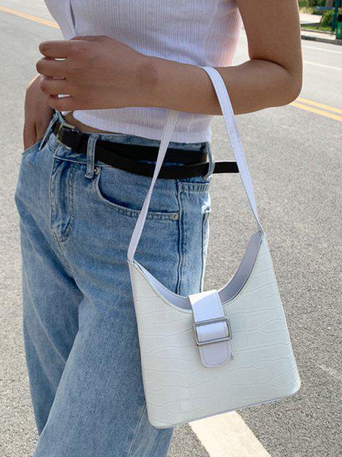 affordable Buckle Textured Shoulder Bag - MILK WHITE  Mobile