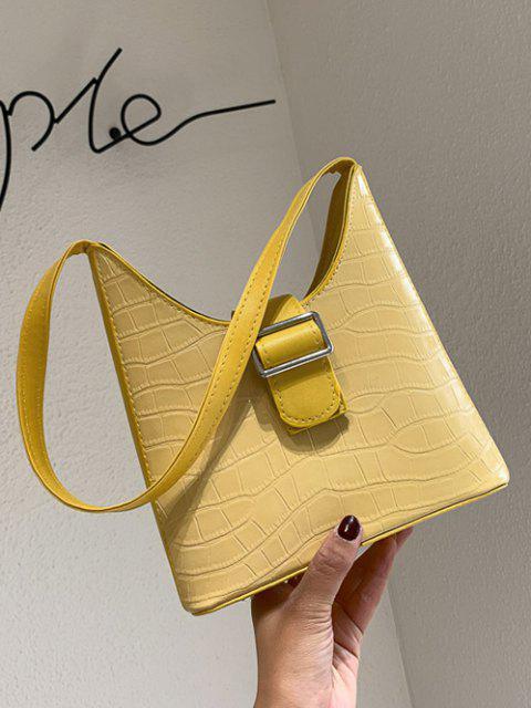 womens Buckle Textured Shoulder Bag - GOLDENROD  Mobile