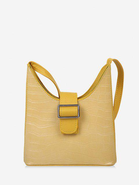 Buckle Textured Shoulder Bag - قضبان ذهبية  Mobile