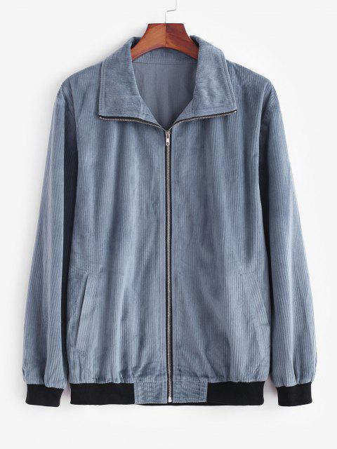 outfits Zip Up Colorblock Panel Corduroy Jacket - DEEP BLUE XL Mobile