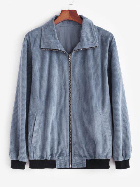 women's Zip Up Colorblock Panel Corduroy Jacket - DEEP BLUE 2XL Mobile