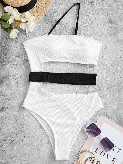 lady ZAFUL Cutout One Shoulder One-piece Swimwear - WHITE M Mobile