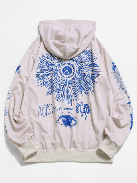 affordable Abstract Flower Print Front Pocket Casual Hoodie - NATURAL WHITE S Mobile