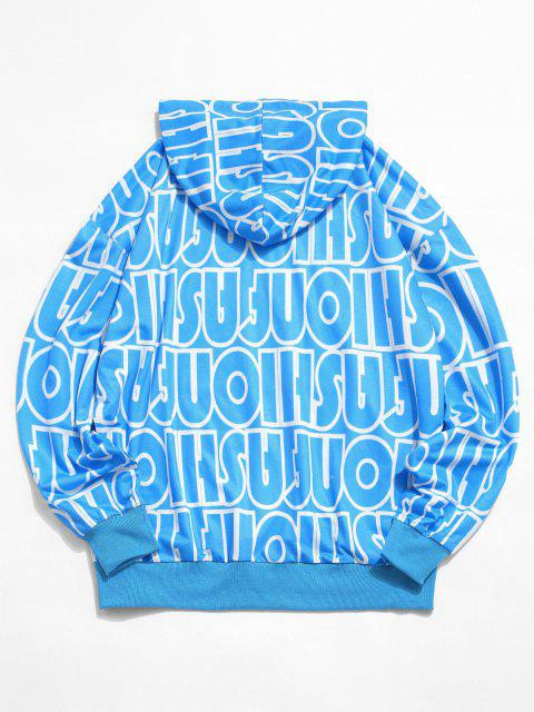 hot Allover Letter Print Drop Shoulder Casual Hoodie - LIGHT BLUE 2XL Mobile