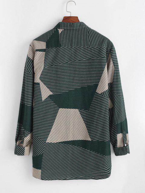 latest Colorblock Pin-striped Casual Corduroy Shirt - MULTI L Mobile