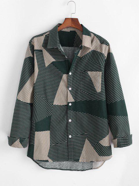 latest Colorblock Pin-striped Casual Corduroy Shirt - MULTI 2XL Mobile