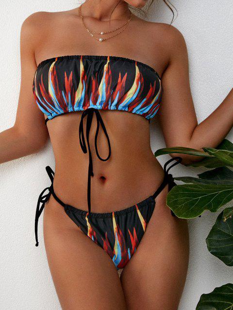 hot ZAFUL Flame Print Criss Cross Drawstring String Bikini Swimwear - BLACK S Mobile