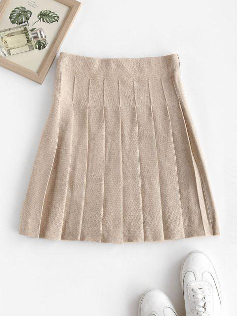 shop High Waisted Knitted Pleated Skirt - WARM WHITE ONE SIZE Mobile
