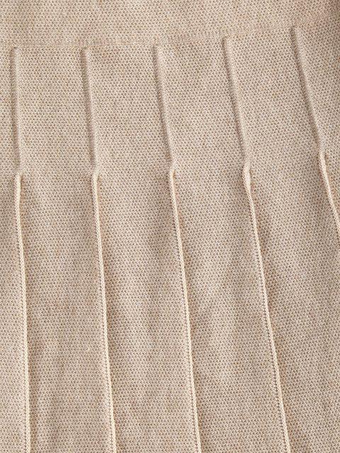 Saia plissada de cintura alta com bloco de cores - Branco Quente Um Tamanho Mobile
