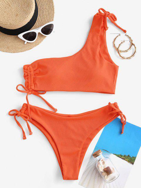 ZAFUL Einziger Schulter Bikini Badebekleidung mit Schnürung - Dunkles Orange S Mobile
