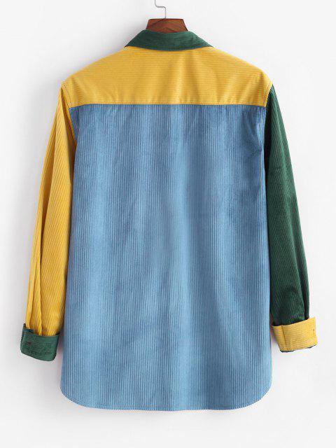 women Colorblock Dual Pockets Button Up Corduroy Shirt - MULTI S Mobile