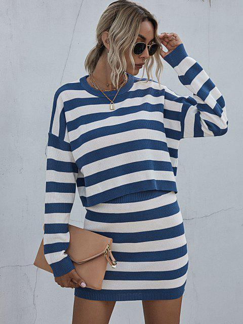 women's Striped Drop Shoulder Sweater Bodycon Skirt Set - BLUE L Mobile