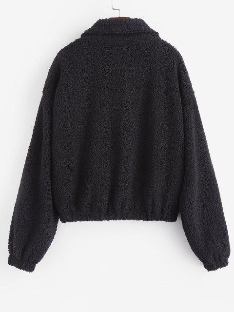 Manteau Brodé Zippé à Cordon - Noir L Mobile