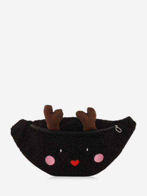 Christmas Cartoon Elk Chest Bag - أسود  Mobile