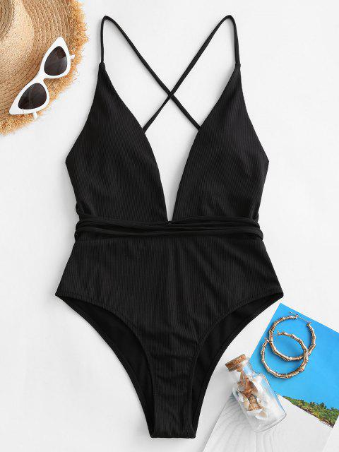 ZAFUL Plunge Backless Convertible Crisscross One-piece Swimsuit - أسود S Mobile