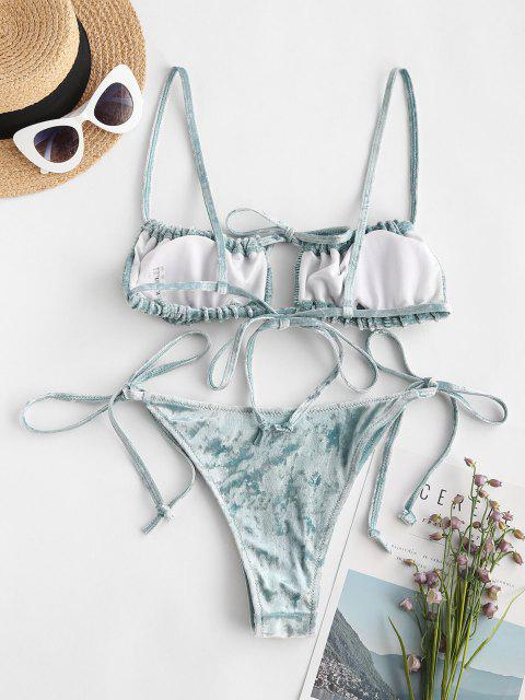 online ZAFUL Crushed Velvet Tie Side Smocked Bikini Swimwear - DEEP BLUE S Mobile