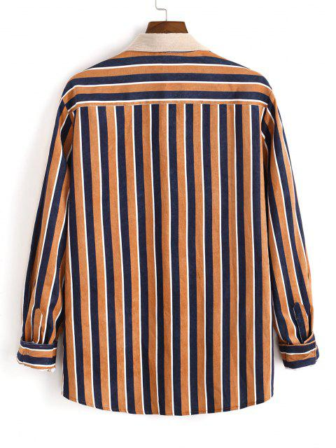 chic Vertical Striped One Pocket Button Up Corduroy Shirt - MULTI L Mobile