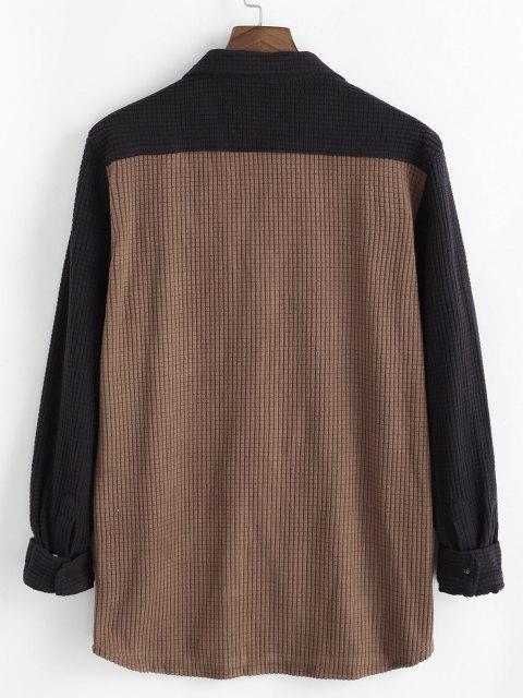 sale Contrast Color Pocket Corduroy Leisure Shirt - COFFEE L Mobile