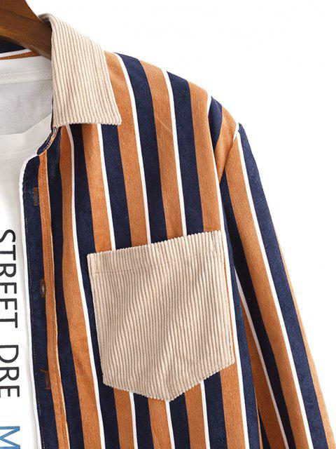 best Vertical Striped One Pocket Button Up Corduroy Shirt - MULTI S Mobile