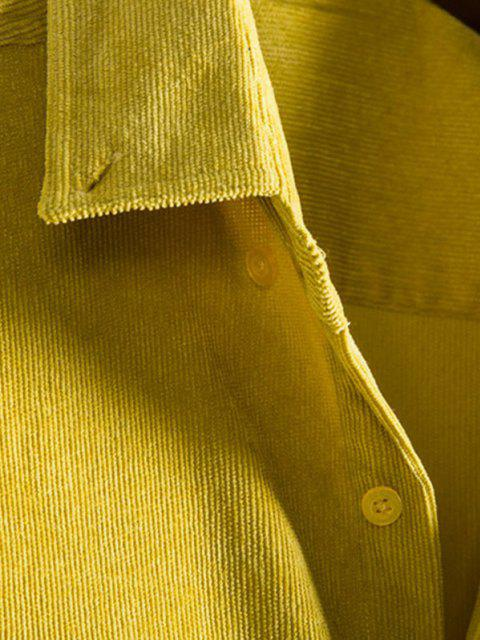 sale Double Pockets Button Down Corduroy Shirt - BRIGHT YELLOW M Mobile