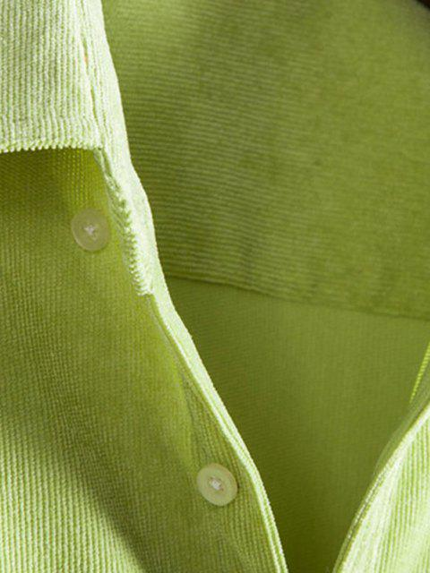 chic Double Pockets Button Down Corduroy Shirt - TEA GREEN M Mobile