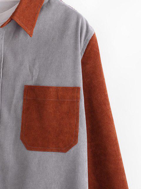 shops Bicolor Pocket Button Up Corduroy Shirt - DARK GRAY XL Mobile