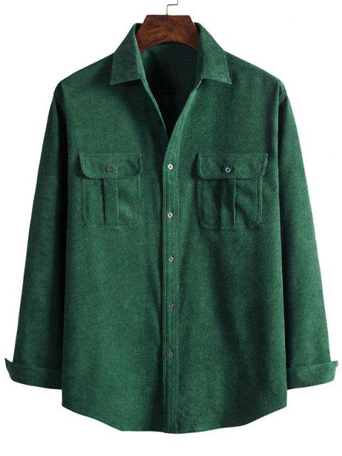 affordable Double Pockets Button Down Corduroy Shirt - DARK FOREST GREEN 3XL Mobile