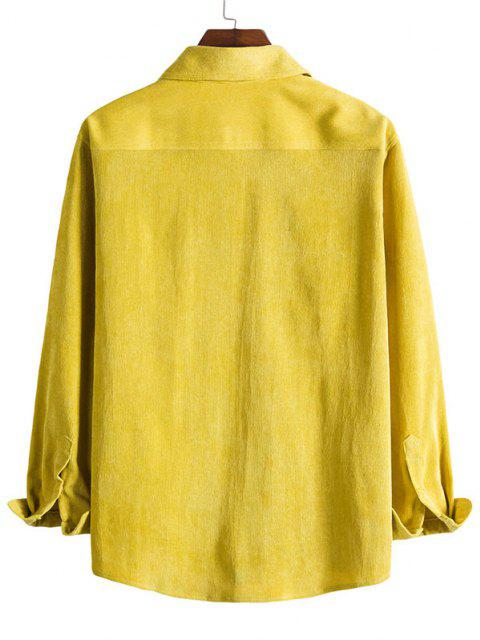 sale Double Pockets Button Down Corduroy Shirt - BRIGHT YELLOW 2XL Mobile