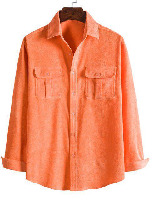 new Double Pockets Button Down Corduroy Shirt - PUMPKIN ORANGE M Mobile