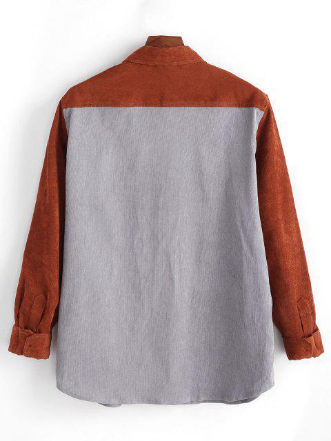 バイカラーポケットボタン付きコーデュロイシャツ - 暗灰色 2XL Mobile