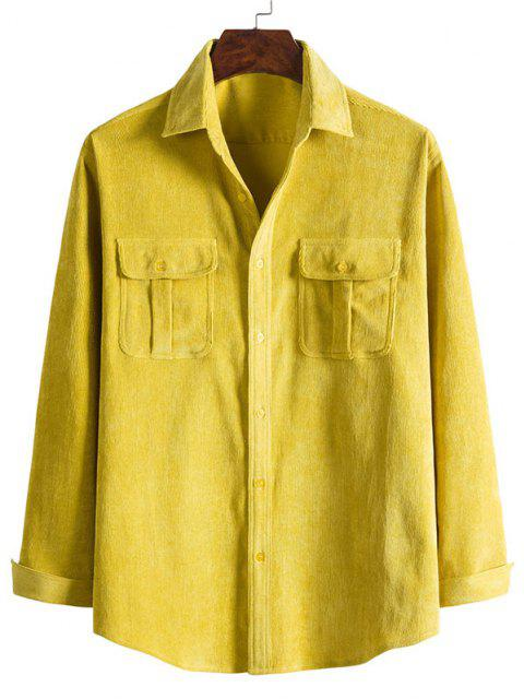 latest Double Pockets Button Down Corduroy Shirt - BRIGHT YELLOW 3XL Mobile