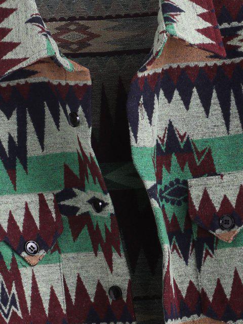 Veste Ethnique Motif Tribal Boutonnée avec Poche - Vert S Mobile