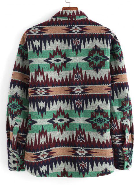 Ethnic Tribal Pattern Pocket Button Up Jacket - أخضر S Mobile