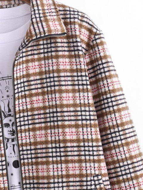 lady Tweed Lined Plaid Jacket - LIGHT COFFEE L Mobile