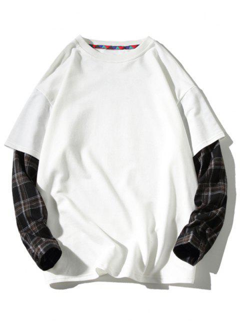 best Backpack Print Plaid Faux Twinset Sweatshirt - WHITE XL Mobile