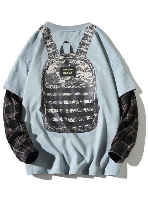 outfit Backpack Print Plaid Faux Twinset Sweatshirt - BLUE L Mobile
