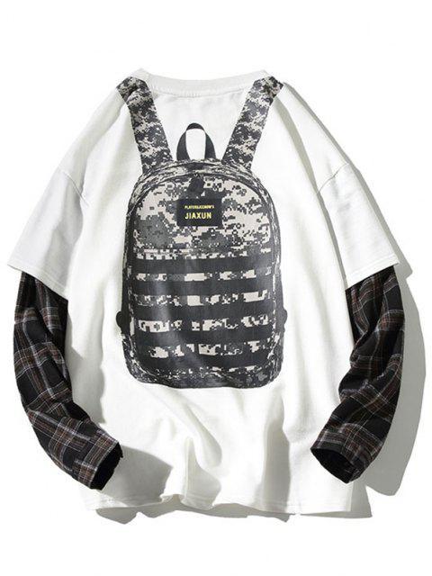 shops Backpack Print Plaid Faux Twinset Sweatshirt - WHITE 2XL Mobile