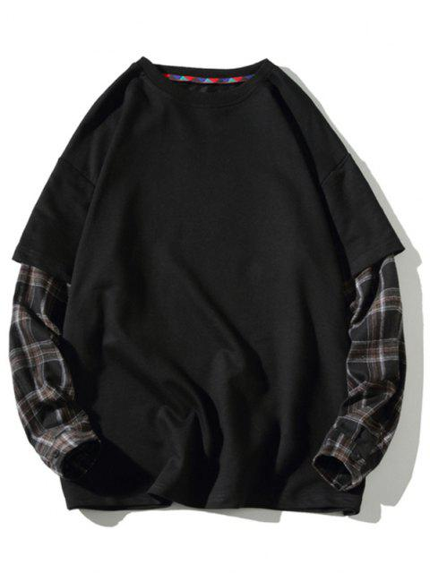 fashion Backpack Print Plaid Faux Twinset Sweatshirt - BLACK M Mobile