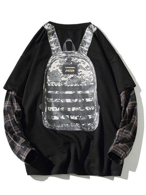 affordable Backpack Print Plaid Faux Twinset Sweatshirt - BLACK L Mobile