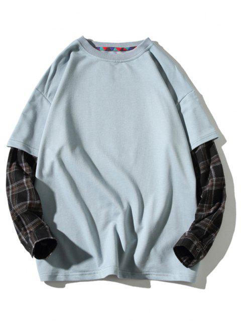 Sweat-shirtà CarreauxSacImprimé Fausse Deux Pièces - Bleu 4XL Mobile