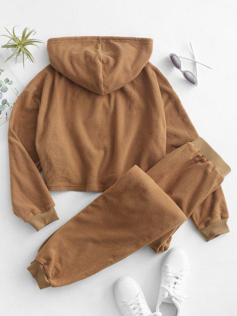 buy ZAFUL Faux Fur Cropped Hoodie and Pants Set - TIGER ORANGE L Mobile