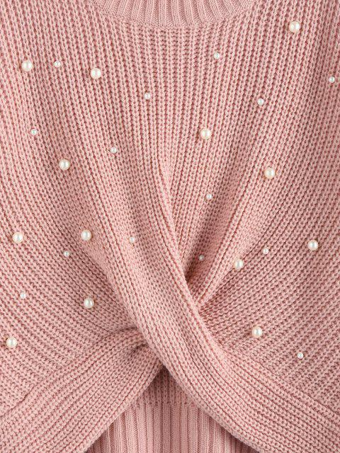 trendy ZAFUL Faux Pearl Embellished Twisted Sweater - LIGHT PINK M Mobile